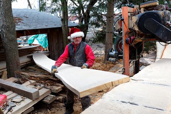 Harold cutting wood